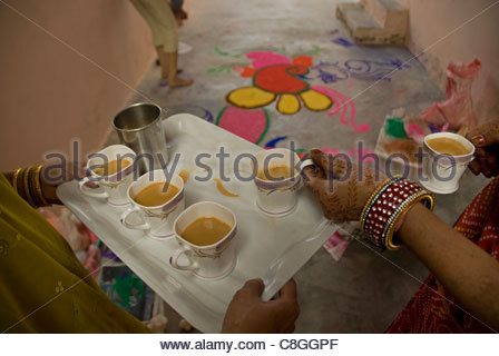 Drawings made with powder are designed on the floor for Diwali. - Stock Photo