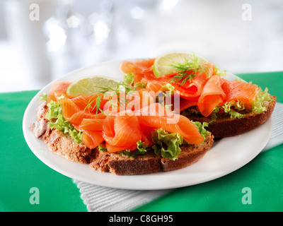 Smoked Salmon & salad Sandwich - Stock Photo