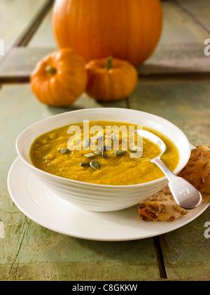 Pumpkin & Bacon Soup - Stock Photo