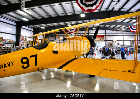 Navy N3N Trainer at the Warhawk Air Museum, Nampa, Idaho (the last biplane in US military service) - Stock Photo