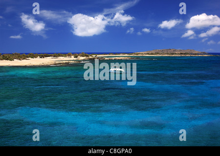 The south coast of Chrissi  island, a small exotic island, a tiny paradise, 8 miles south of  Ierapetra, Lasithi, - Stock Photo