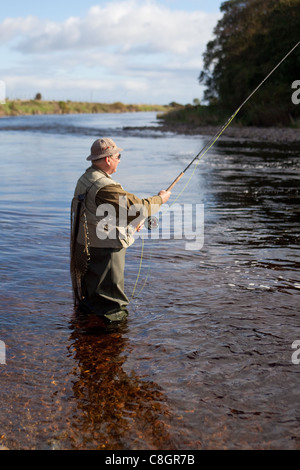 fisherman fly fishing for salmon coming up the river north esk, Fly Fishing Bait