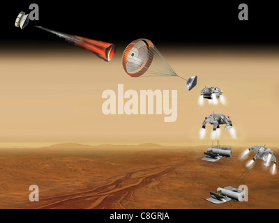 Vehicle for Lofting a Sample Approaches Mars (Artist's Concept) - Stock Photo