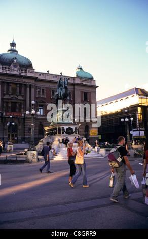 Belgrade, Serbia, Yugoslavia. Street scene; The National Museum on Trg Republika in the city centre. - Stock Photo