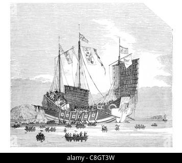 Chinese trading junk ancient Chinese sailing vessel Junks Han Dynasty Asia ocean voyage Hong Kong junk-rigged sailboat