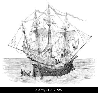 Henry Grace à Dieu  Grace of God Great Harry English carrack forecastle deck 43 heavy guns and 141 light guns warship - Stock Photo