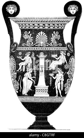 Victorian Engraving Of Ancient Greek Pottery Kraters Digitally