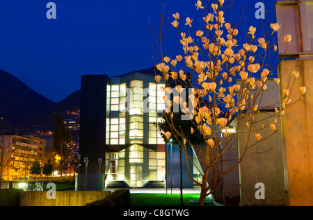 Lugano, university, Switzerland, Europe, canton, Ticino, dusk, light, illumination, building, construction, building, - Stock Photo