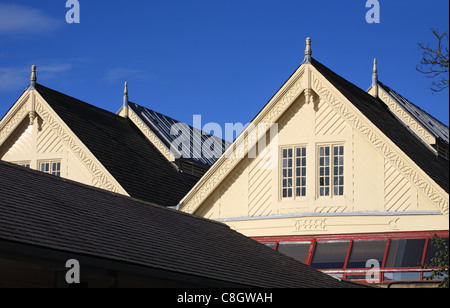 The wooden eaves of the old railway station at Richmond, North Yorkshire, England - Stock Photo