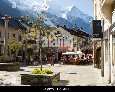 Chamonix, France, center of town with Mont Blanc in background - Stock Photo