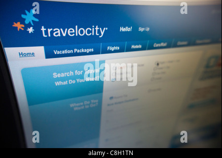 The Travelocity travel website is seen on Monday, October 24, 2011. (© Richard B. Levine) - Stock Photo