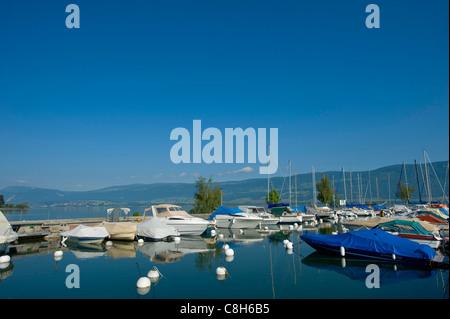 Switzerland, Europe, Vaud, Yvonand, Lac de Neuchâtel, Neuenburgersee, lake, canton, ship, panorama, scenery, summer, - Stock Photo