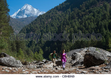 Trekkers on their way to Everest base camp - Stock Photo