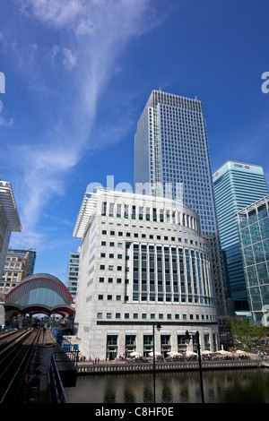 Canary Wharf DLR station and modern buildings at Canary Wharf, West India Docks, Isle of Dogs, East London, England, - Stock Photo