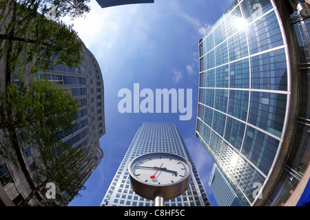 Canada Square modern architecture, Canary Wharf, West India Docks, Isle of Dogs, East London, England, UK, United - Stock Photo