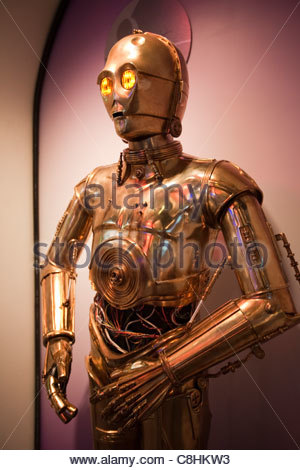 Star Wars robot, C-3PO, at the Carnegie Science Center robot exhibit. - Stock Photo