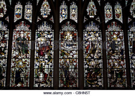 Stained glass windows in the Saint Mary the Virgin Church. - Stock Photo