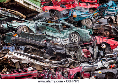 Recycling of metal-based consumer products in a scrap yard. - Stock Photo