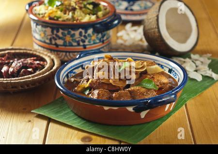 India Food Chicken Xacuti And Coconut Rice Goa Stock Photo 8461794