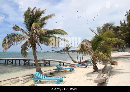 Beach Road, San Pedro town centre, Ambergris Caye (aka La Isla Bonita), Barrier Reef, Belize, Caribbean, Central - Stock Photo