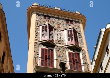 Casa de las Medias, Baustil Modernisme, Palma, Mallorca.   Casa de las Medias, architectural style Modernisme, Palma, - Stock Photo