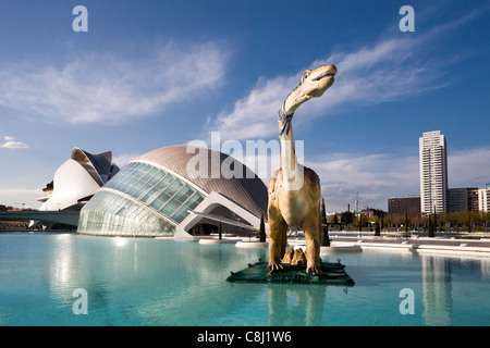 Spain, Europe, Valencia, City of Arts and Science, Calatrava, architecture, modern, Dinosaur, water - Stock Photo