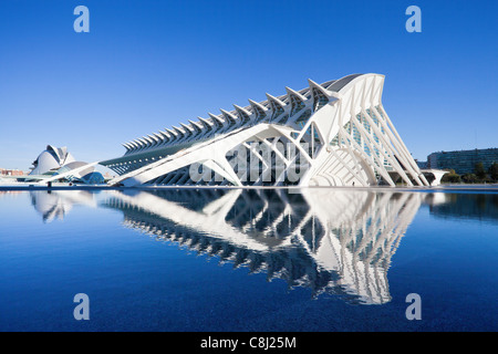Spain, Europe, Valencia, City of Arts and Science, Calatrava, architecture, modern, water - Stock Photo