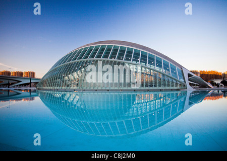 Spain, Europe, Valencia, City of Arts and Science, Calatrava, architecture, modern, Hemisferic, water - Stock Photo