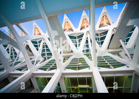 Spain, Europe, Valencia, City of Arts and Science, Calatrava, architecture, modern, structure - Stock Photo
