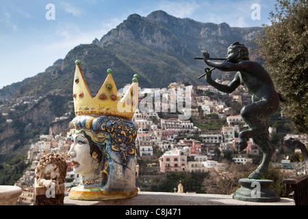Amalfi, Amalfiküste, Aussicht, Blick, Campania, Golf von Neapel, Italien, Kampanien, Küste, Meer, Meta, Mittelmeer, - Stock Photo