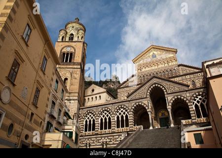 Amalfi, Amalfiküste, Aussicht, Blick, Campania, Dom, Golf von Neapel, Italien, Kampanien, Kirche, Küste, Meer, Meta, - Stock Photo