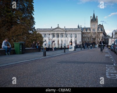 Kings Parade Cambridge looking north. Open road space in an urban scene. Potential for use as backdrop image. - Stock Photo