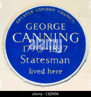 Greater London Council blue plaque tribute to George Canning British statesman and Tory politician lived here Mayfair - Stock Photo
