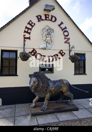 Lion statue outside the Red Lion pub in Boldre, New Forest, Hampshire, England - Stock Photo