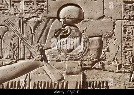 Detail of  relief showing the Barque of Amun  at Karnak Temple, Luxor Egypt - Stock Photo