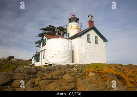 CALIFORNIA - Battery Point Lighthouse located on a small island in the Pacific Ocean off the coast at Crescent City. - Stock Photo