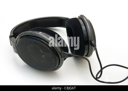 Black headphones isolated on white - Stock Photo