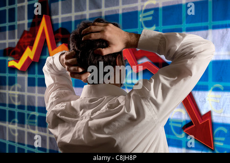 Greek business man desperate for the global crisis. Greek finance crack - Stock Photo