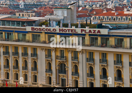 Nice, France, 'Boscolo Hotel Plaza', Top, with Cityscape, Center Old TOwn, Aerial, Daytime - Stock Photo