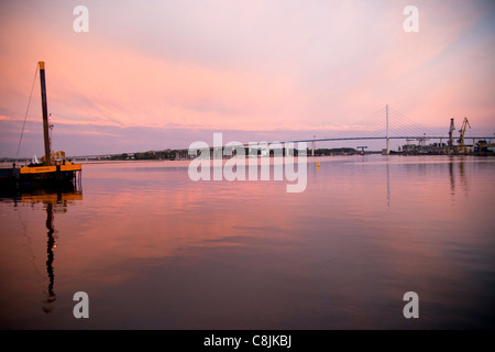 evening mood with a ship and the  Ruegen Bridge, Hanseatic City of Stralsund, Mecklenburg-Vorpommern, Germany - Stock Photo