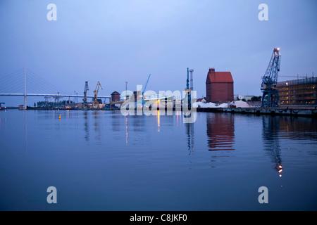 Harbour and bridge to Ruegen Island, Hanseatic City of Stralsund, Mecklenburg-Vorpommern, Germany - Stock Photo