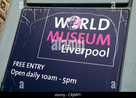 Sign at the entrance to the World Museum Liverpool, William Brown Street, Liverpool, UK. - Stock Photo