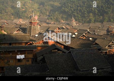 Zhaoxing, Guizhou, China, Miao, Dong, Asia, minority, village, people, mountains - Stock Photo