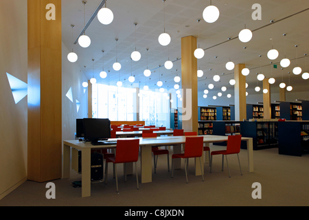 Interior of the new library at the Herta and Paul Amir wing building of the Tel Aviv Museum of Art designed by Harvard's - Stock Photo