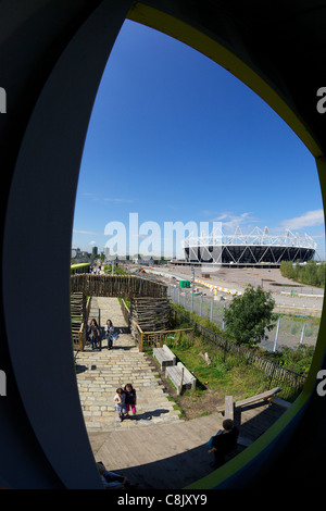 2012 Olympic Stadium from the View Tube, Olympic Park, Stratford, East End, London, England, UK, United Kingdom, - Stock Photo