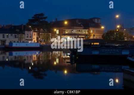 Bancroft Canal Basin at dawn, Stratford-upon-Avon, England, UK - Stock Photo