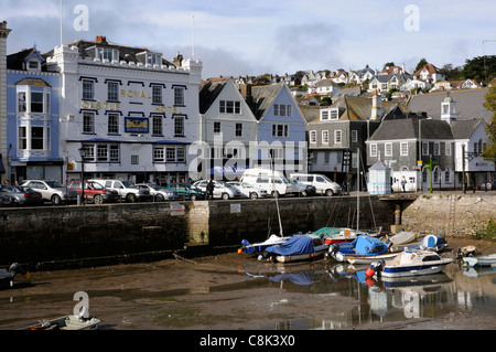 Royal Castle Hotel overlooking the small harbour in Dartmouth south Devon England UK - Stock Photo