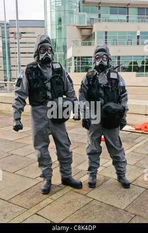 Paramedics wearing Quick Don Protective Suits during the launch of Northern Ireland Ambulance Service (NIAS) Hazardous - Stock Photo