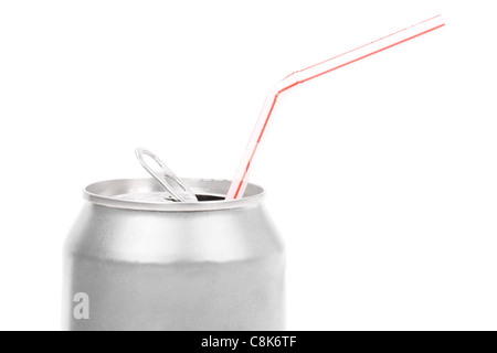 silver soda can close up shot - Stock Photo