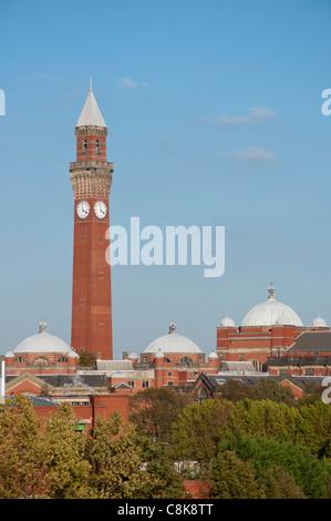 Birmingham University skyline with Joseph Chamberlain Memorial Clock Tower in Chancellor's court, Birmingham. England. - Stock Photo